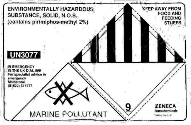 Label on Chemical containers